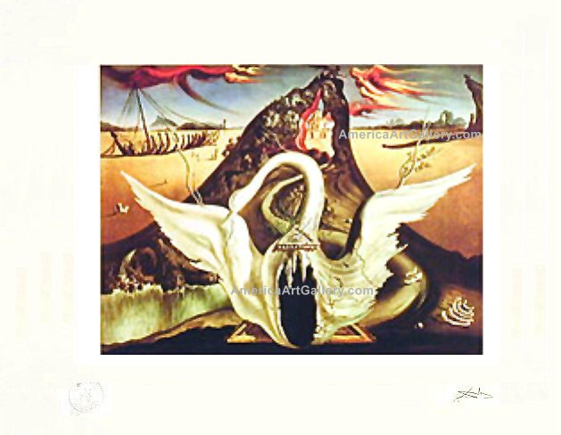 RARE! DALI SWAN PARIS PRINTER PROOF SIGNED L/E w/COA