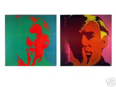 FABULOUS RARE 2 PRINT COLLECTION ANDY WARHOL SELF PORTRAITS!