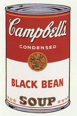 SUNDAY B MORNING WARHOL CAMPBELL SOUP CAN SCREEN PRINT(BlackBn)