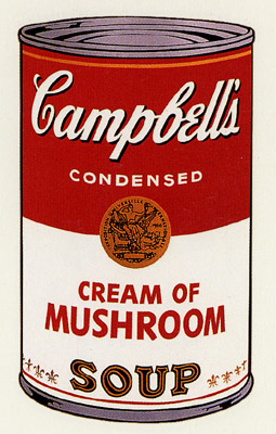SUNDAY B MORNING WARHOL CAMPBELL SOUP CAN SCREEN PRINT(Mushrm)