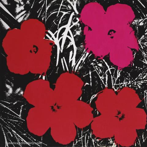 ANDY WARHOL FLOWERS REDS